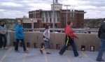 GUK students on top of parking structure overlooking W.T.Young Library