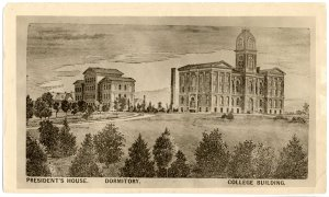 1882 Agriculture & Mechanical College; first 3 buildings and smokestack (left