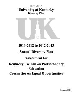 Front page of UK Annual Diversity Plan Assessment Report, Dec. 2013
