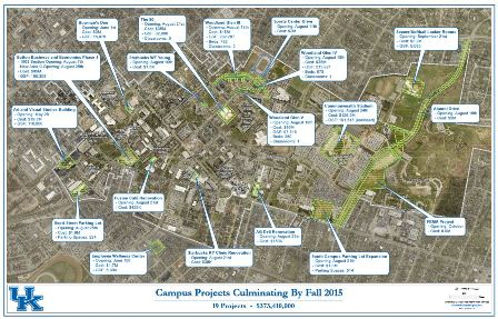 Bird's Eye View of Campus Projects Culminating by Fall 2015