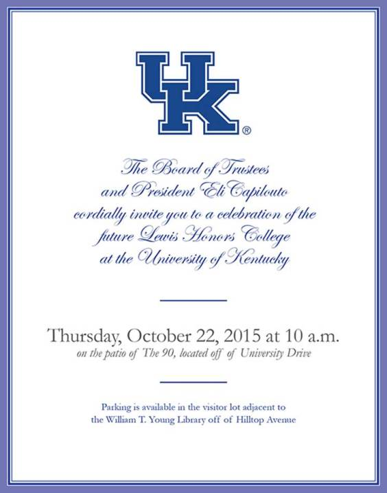 Invitation to celebrate future Lewis Honors College